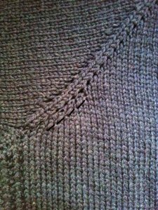 Everyday Cardigan close up bust shaping yoke showing