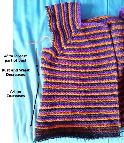 underbust decreases with 3x3 sweater